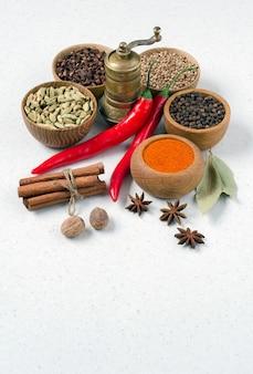 白い背景の上のインド料理の料理のためのさまざまなスパイスと調味料。