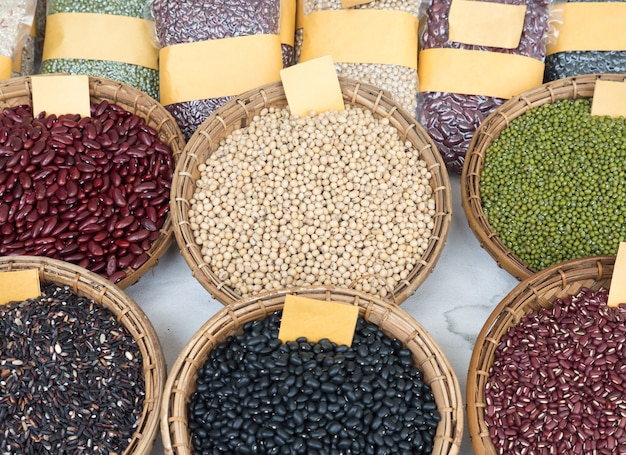 Variety of the organic whole grains.