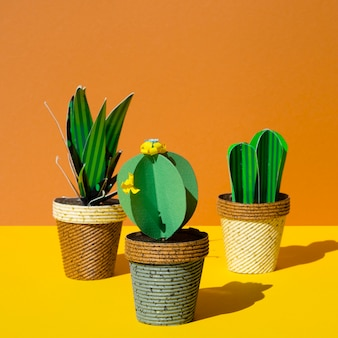 Variety of origami paper cacti in pots