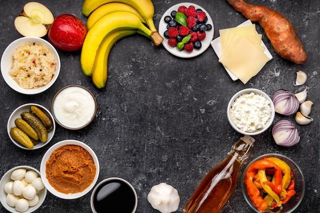 다양한 프로 바이오 틱 및 프리 바이오 틱 식품
