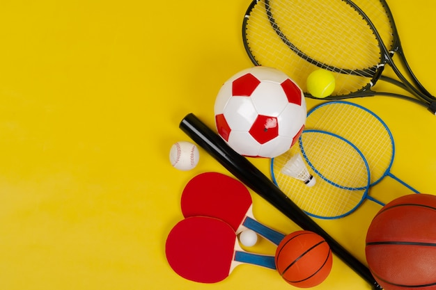 Variety of rackets and balls