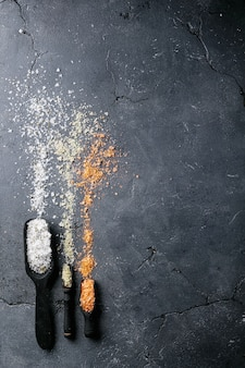 Variety of salt and seasoning
