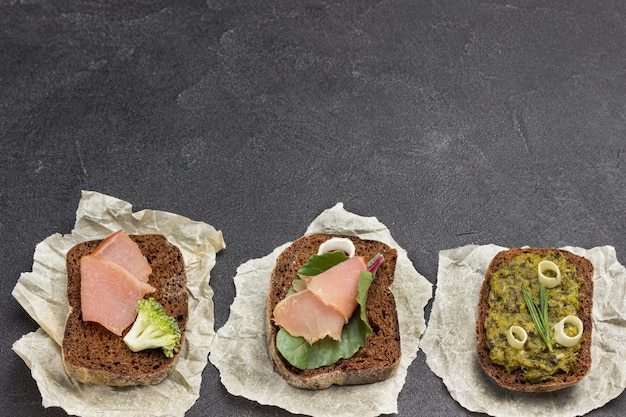 Variety of sandwiches for breakfast and appetizers.
