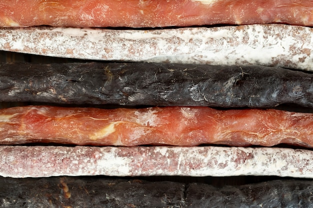 Variety of sausage meat products as a food background