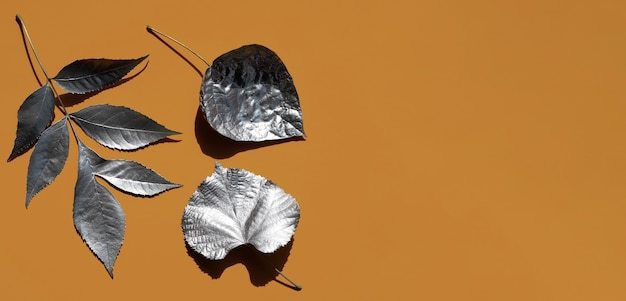 Variety of silver painted leaves and copy space