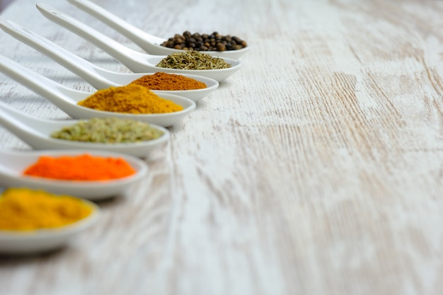 Variety of spices displayed in spoons