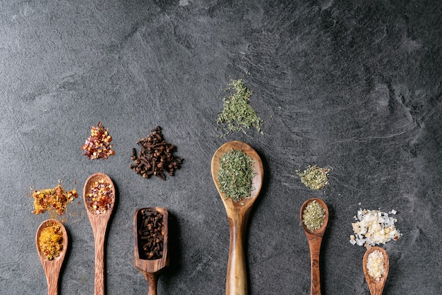 Variety of spices in spoons