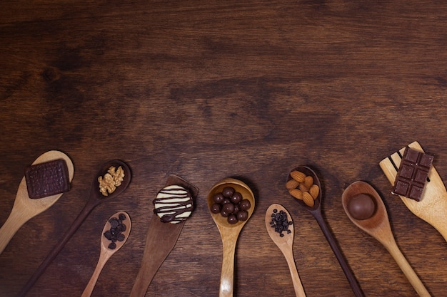 Variety of spoons with ingredients