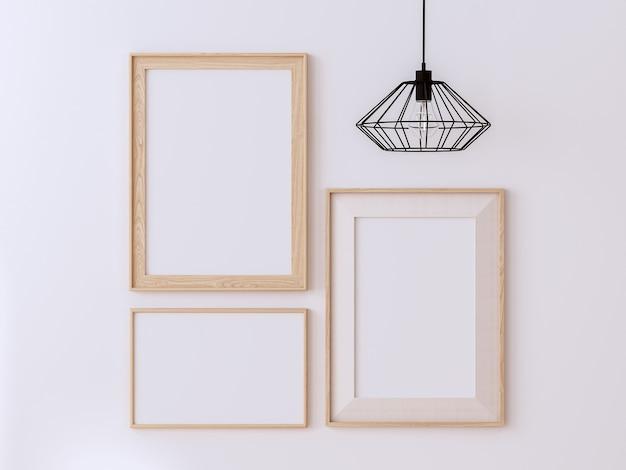 흰색 벽 3d 렌더에 있는 다양한 스타일의 빈 나무 그림 프레임은 금속 와이어 램프로 장식합니다.
