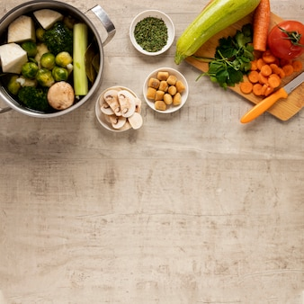 Variety of veggies and ingredients for soups