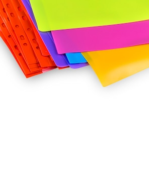Varios colorful transparent files in confusion