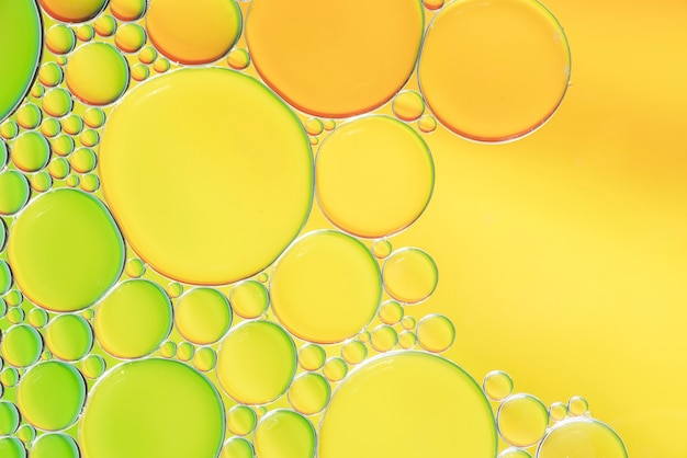 Various abstract yellow and green bubbles texture