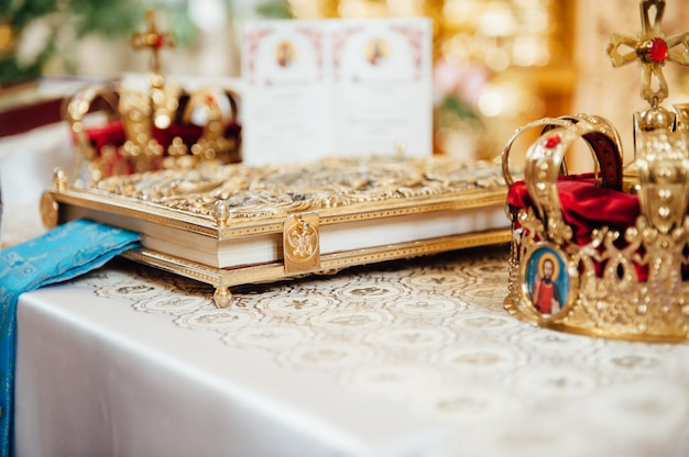 Various accessories for the wedding in the church