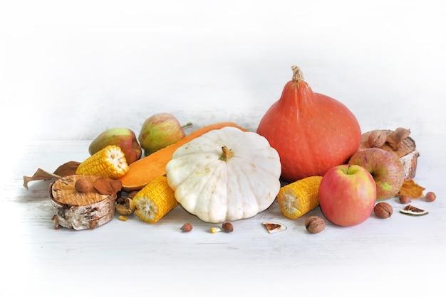 Разнообразные и красочные осенние овощи и фрукты