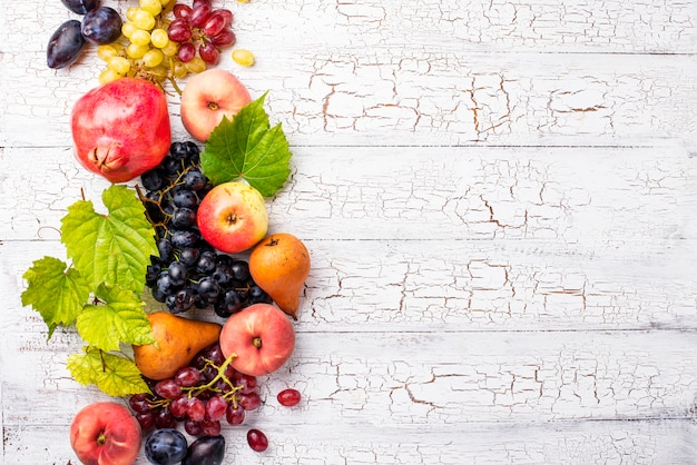 Various autumn fruits on white wood