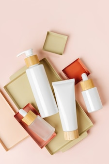 Various blank cosmetic container mock-ups on pastel color background