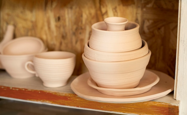 Various bowls pottery concept
