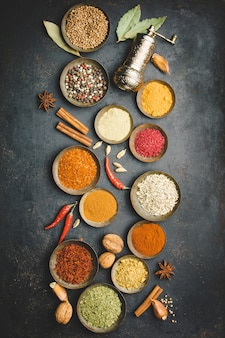Various bowls of spices, top view