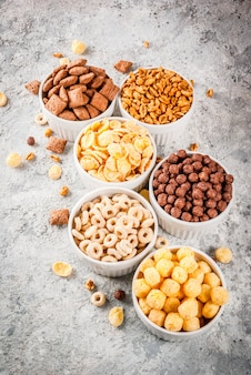 Various breakfast cereal
