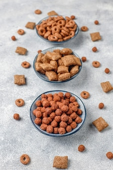 Various breakfast cereals,top view