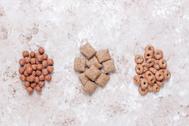 Vari cereali per la colazione