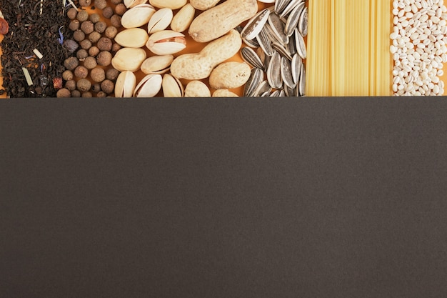 Various bulk products from groceries texture top view of a copy space