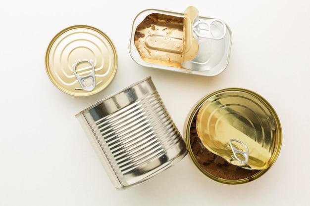 Various cans with food sauces