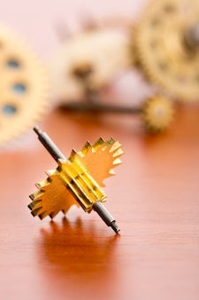 Various clock gears on the table