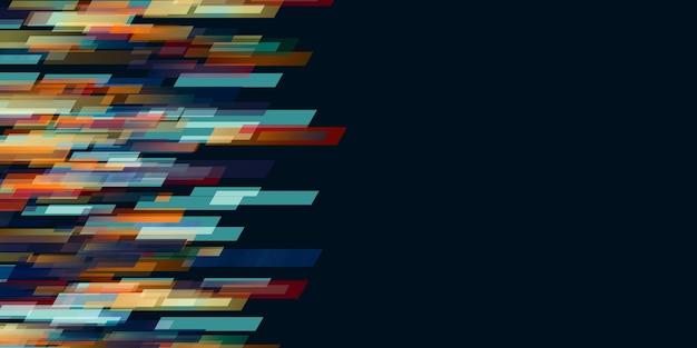 黒の背景の抽象的な技術ライトのさまざまな色のストライプ