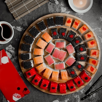 Various colored sushi set top view