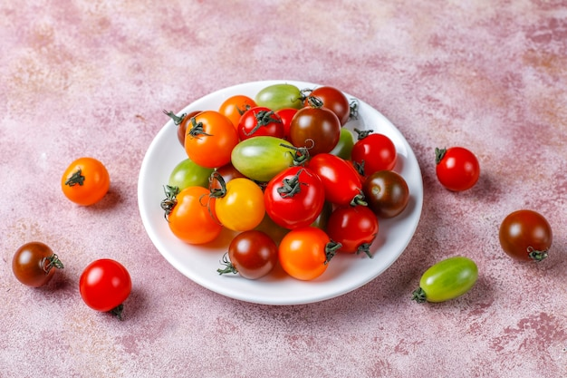 Various colorful cherry tomatoes.