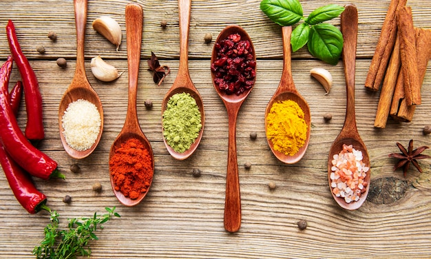 Various colorful herbs and spices