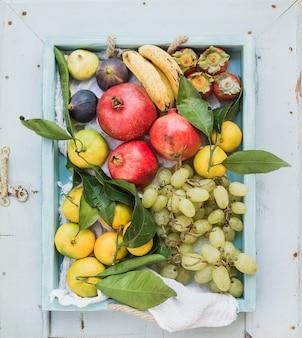 Различный красочный выбор тропического плодоовощ в голубом деревянном подносе, взгляд сверху.