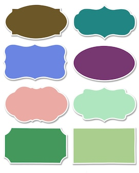 Various colors set of tag and speech bubble with different shape with white border isolated on white background. collection of multicolored label with copy space.