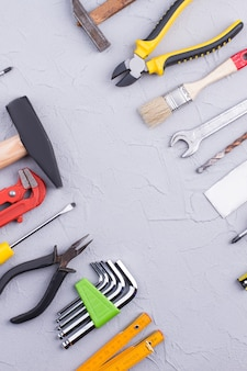 Various construction tools background repair concept