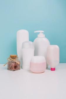 Various cosmetics bottles