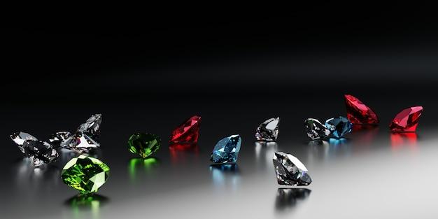 검정색 배경에 다양한 컬러 다이아몬드 사파이어와 에메랄드 컷