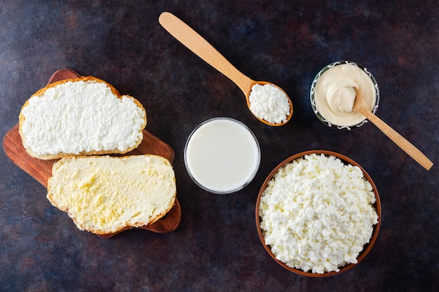 Various dairy products. milk, cottage cheese and sour cream