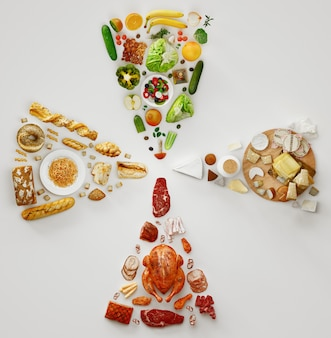 さまざまなダイエット製品、上面図、3dレンダリングイラスト Premium写真