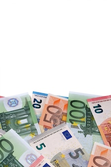 Various different euro bills with copyspace