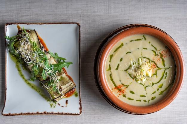 Various dishes of vegan cuisine with mediterranean ingredients