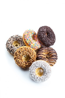 Various donuts on white