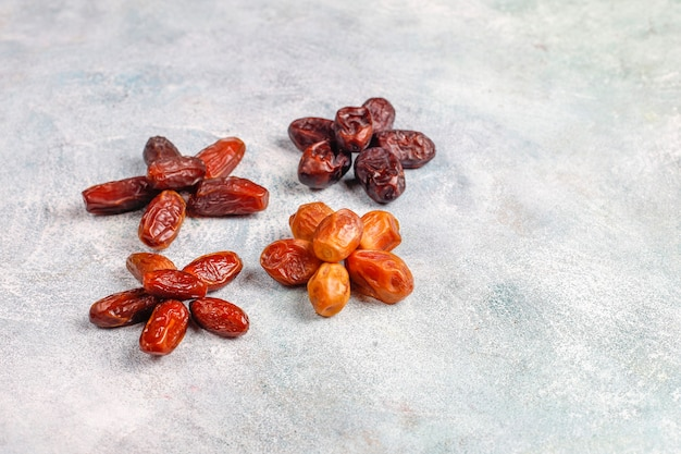 Various of dried dates or kurma.