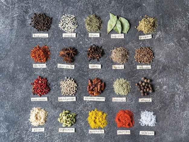 Various dry spices piles and paper lettering flat lay. top view, copy space