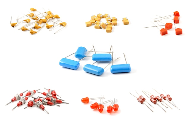 Various electronic components, close-up set on isolated white surface