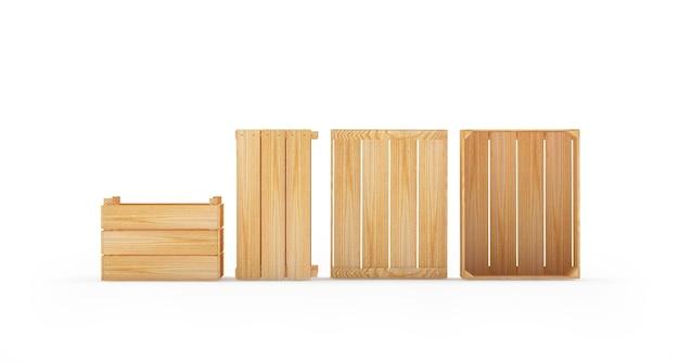 Различные пустые деревянные поддоны или ящики
