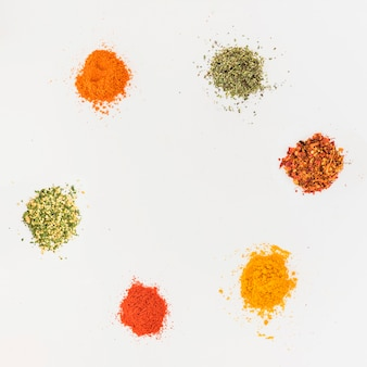 Various flavourings on white table