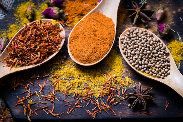 Various fragrant spices and herbs.