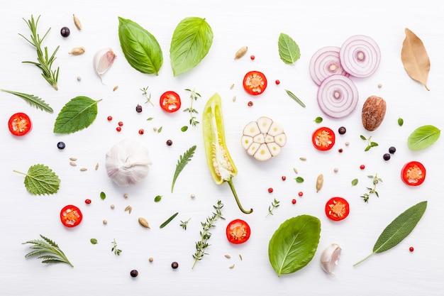 Various fresh herbs for cooking ingrediens peppermint