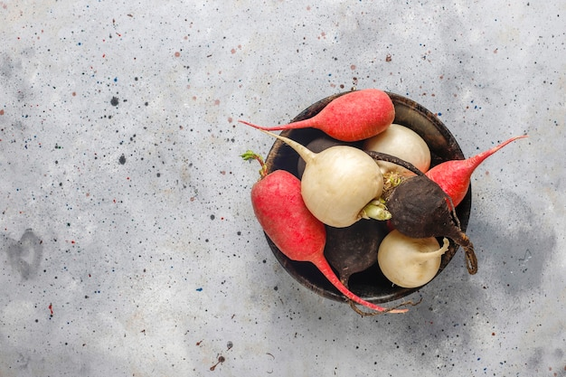 Разнообразный свежий редис, белый редис, длинный розовый и черный редис.